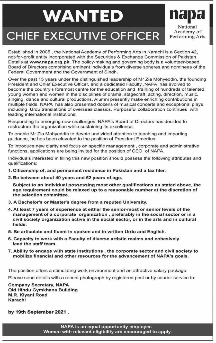 National Academy of Performing Arts NAPA Jobs 2021