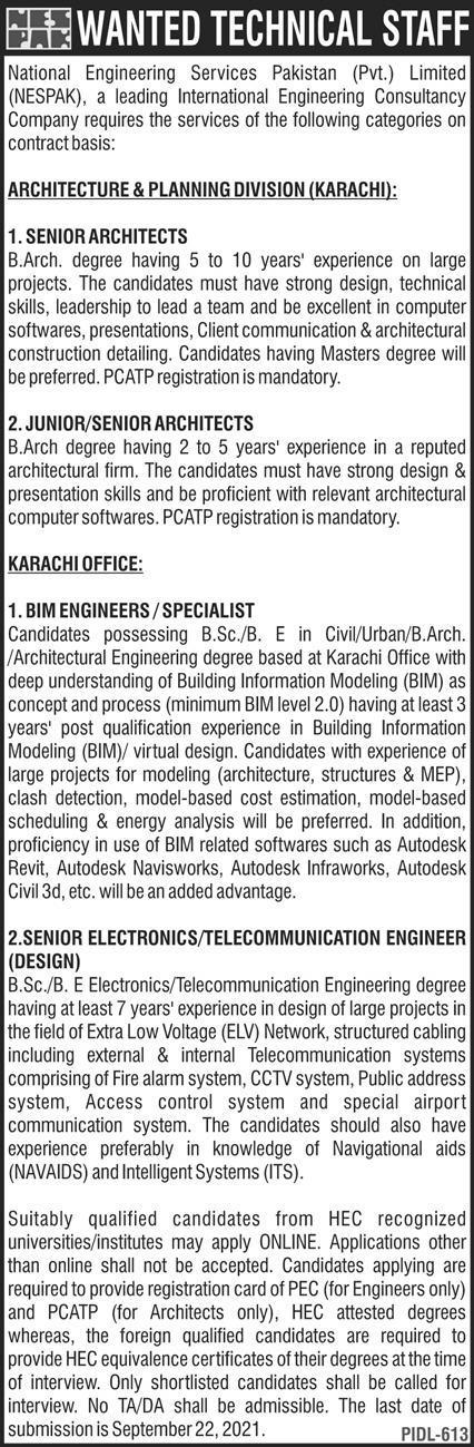 NESPAK Jobs 2021 National Engineering Services Pakistan