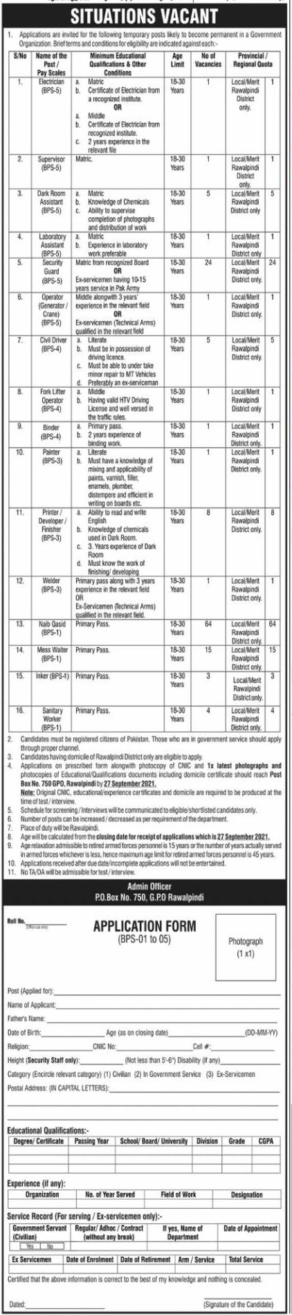 PO Box 750 Rawalpindi Jobs 2021 Government Organization