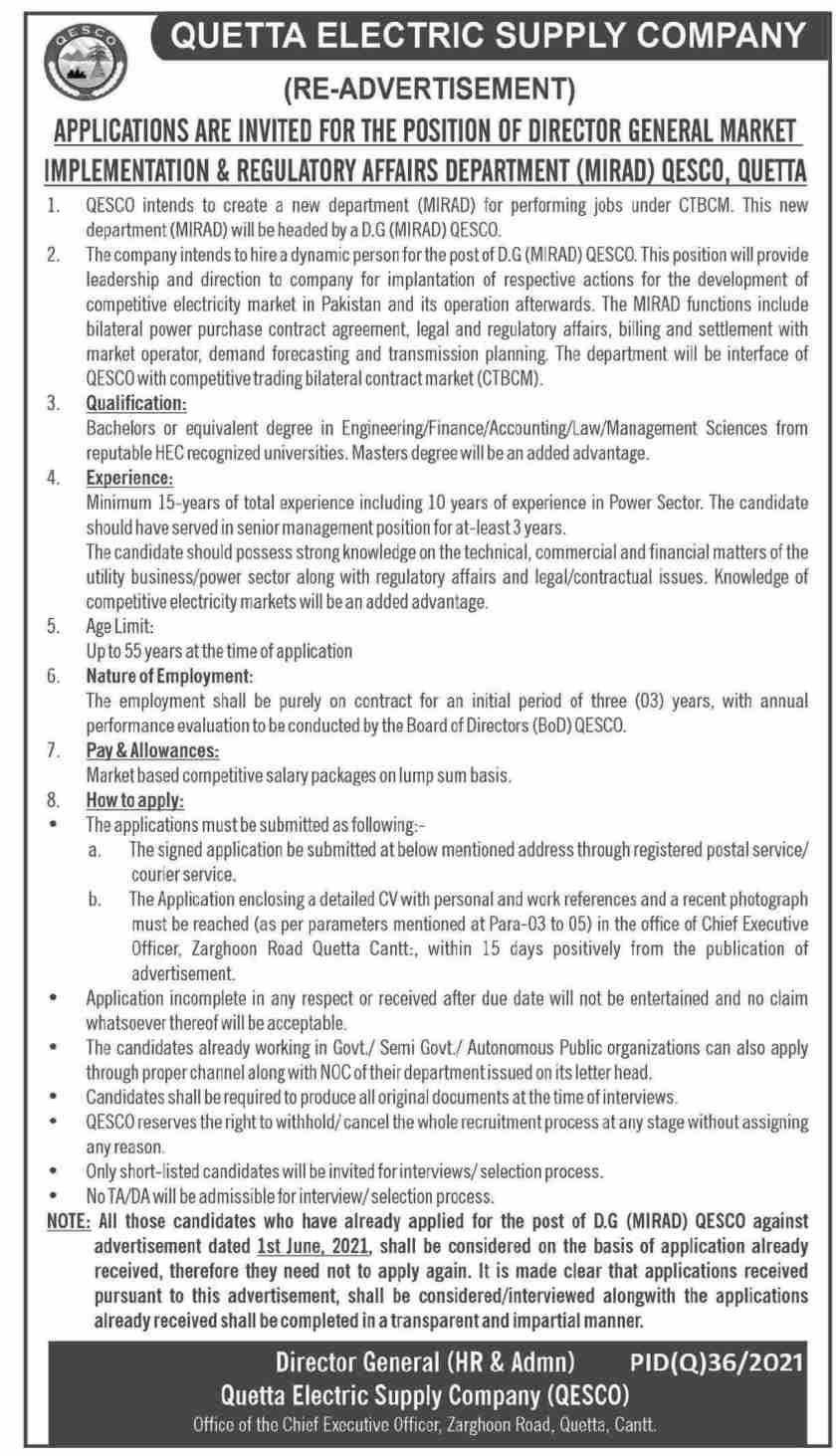 Quetta Electric Supply Company QESCO Jobs 2021