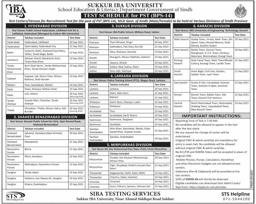 STS Jobs 2021 SIBA Testing Services Pakistan