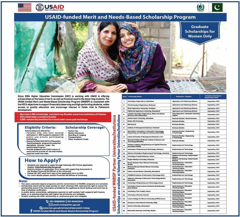 USAID Funded Merit and Needs-Based Scholarship Program