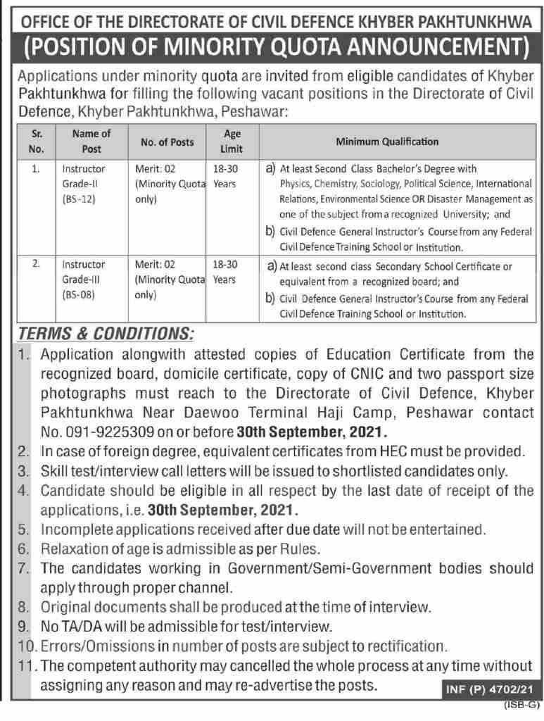 Civil Defence KPK Jobs 2021