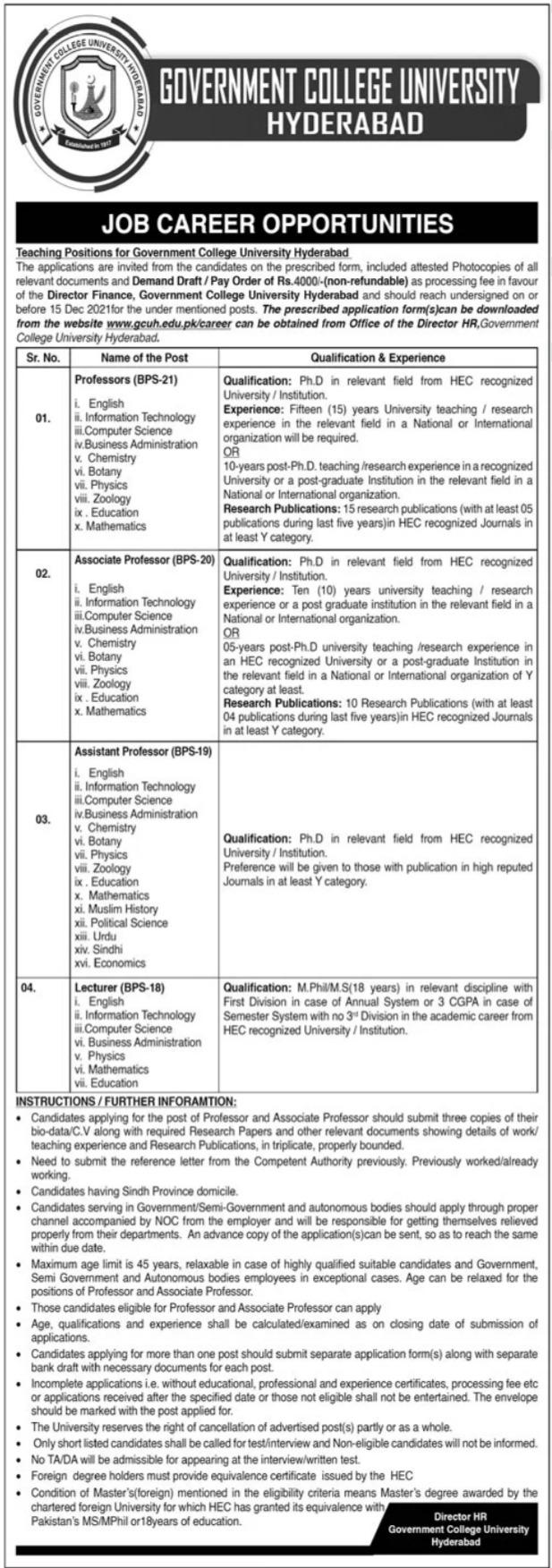 Government College University Hyderabad GCUH Jobs 2021