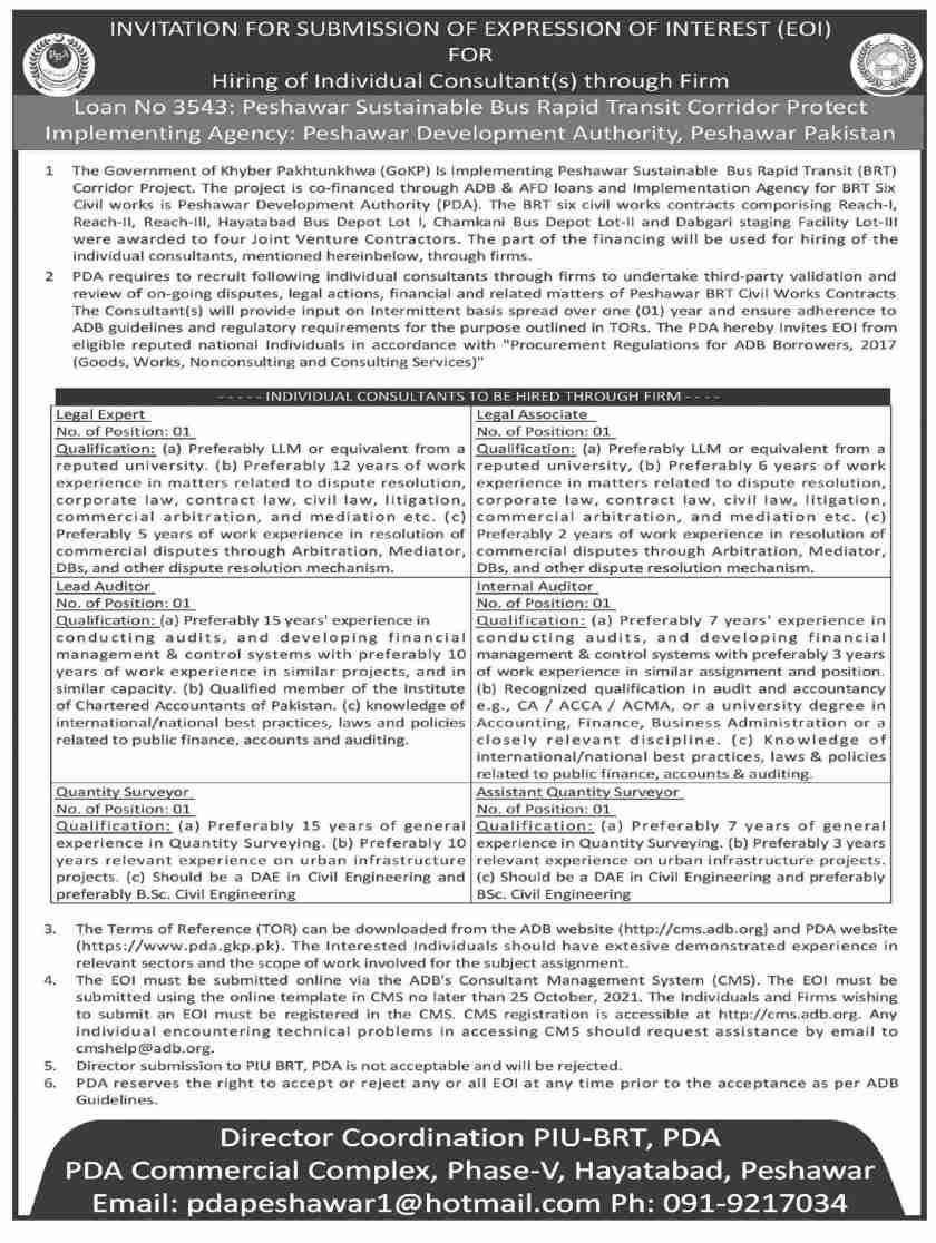 PDA Jobs 2021 Peshawar Development Authority