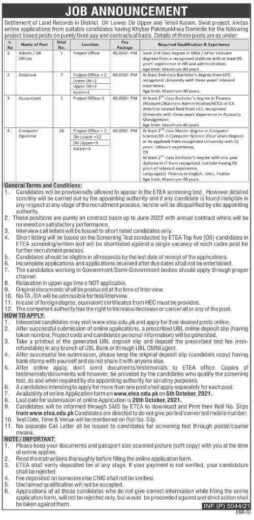 Revenue & Estate Department KPK Jobs 2021