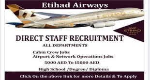DIRECT STAFF RECRUITMENT ALL DEPARTMENTS |etihad airways careers