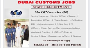 DUBAI GOVERNMENT JOBS-DUBAI CUSTOMS – REGISTER YOUR CV NOW!