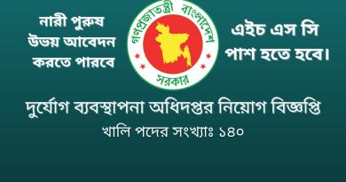 Government Job Circular at Disaster Management Department