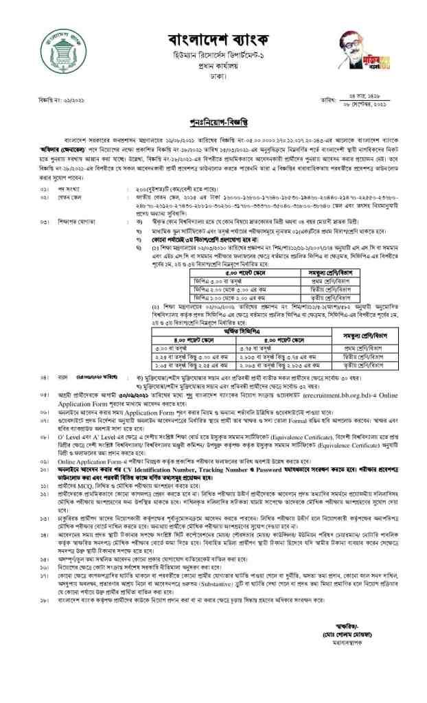 Bangladesh Bank Job Circular । bb.org.bd