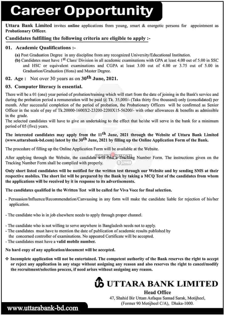 Uttara Bank Job Circular 2021