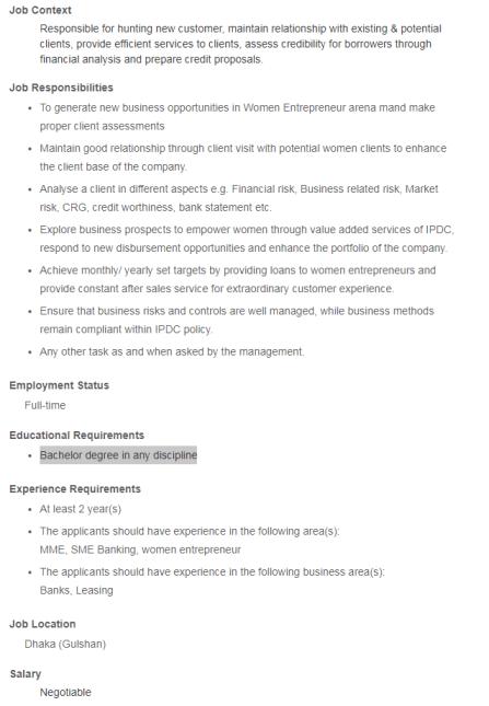 IPDC Job Circular 2021