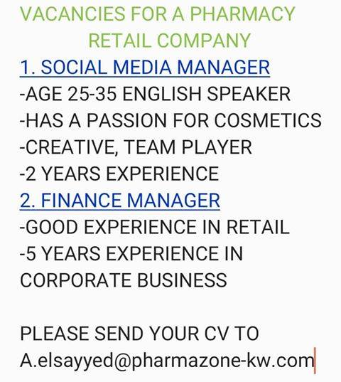 Kuwait Pharmacy Retail Company Jobs - Jobs in Kuwait