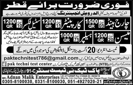 Qatar construction workers jobs Advertisement in Urdu