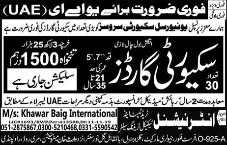 Dubai UAE Security Guards Jobs Advertisement