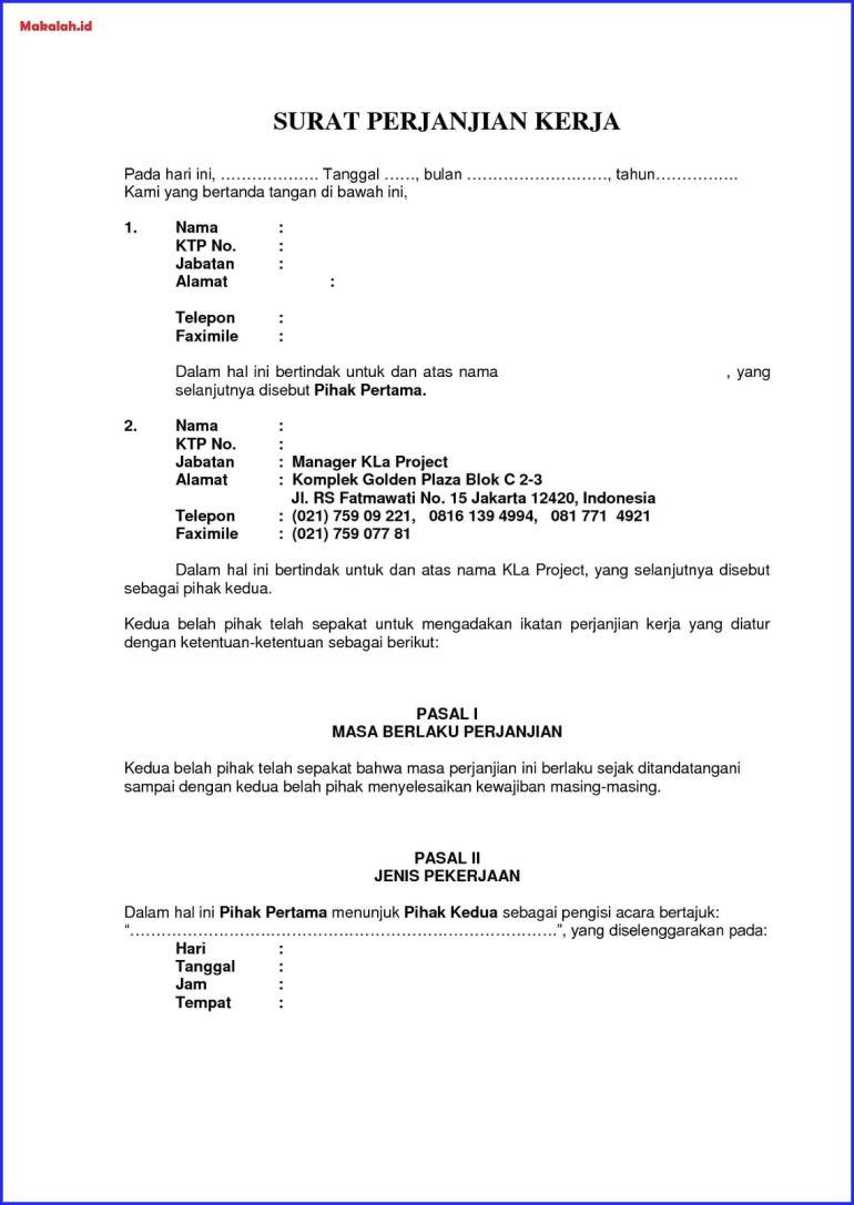 contoh surat kontrak kerja karyawan yang baik dan benar