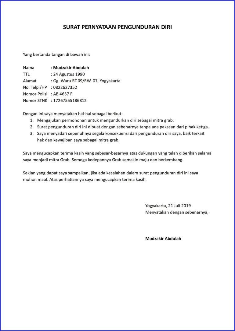 contoh surat pengunduran diri kerja dari mitra grab