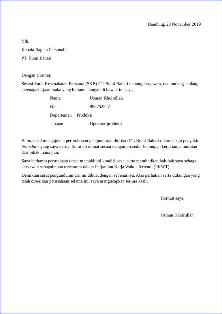 contoh surat pengunduran diri kerja karena sakit parah