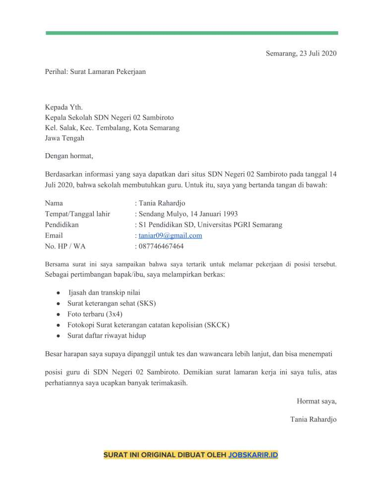 Download Contoh Surat Lamaran Kerja Guru Word Pdf