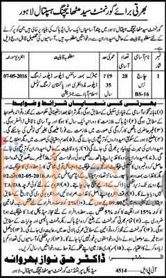 Govt Syed Mitha Teaching Hospital Jobs