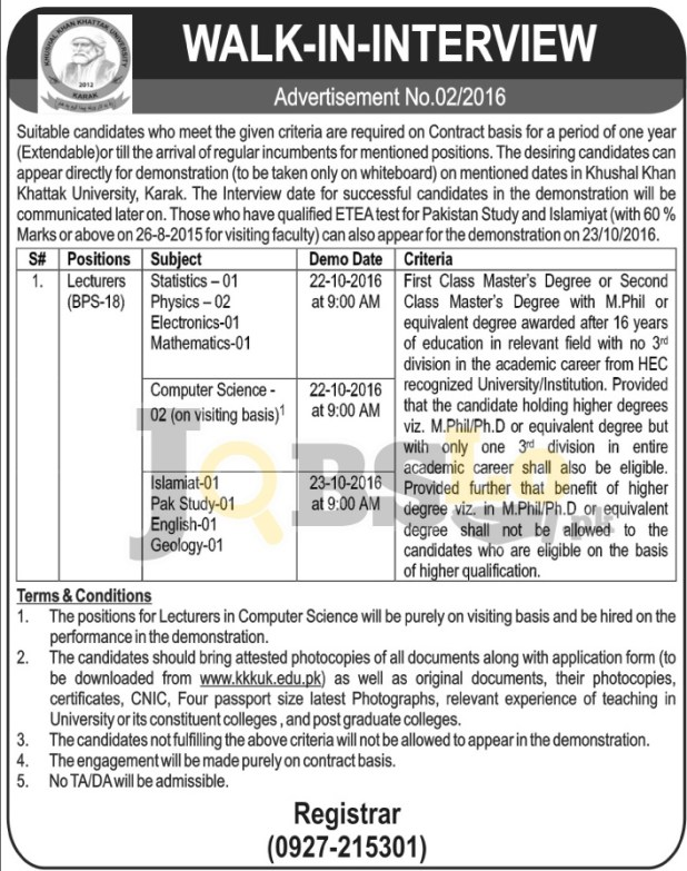 Khushal Khan Khattak University Karak Jobs