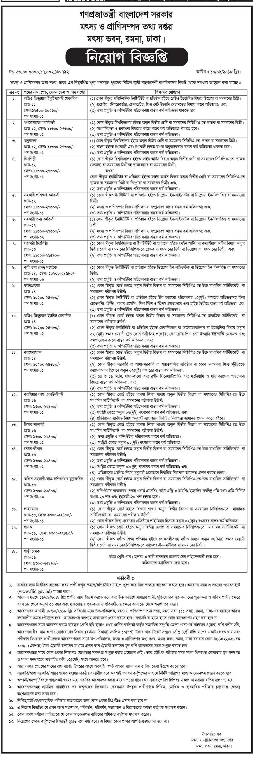 Department of Fisheries and Livestock Information (FLID) job circular & Apply Instruction -2018