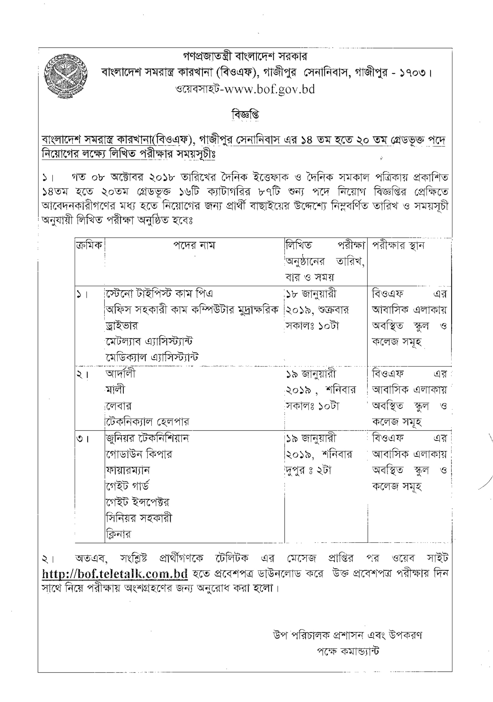 Bangladesh Ordnance Factories Exam Result Date Admit Card 2018