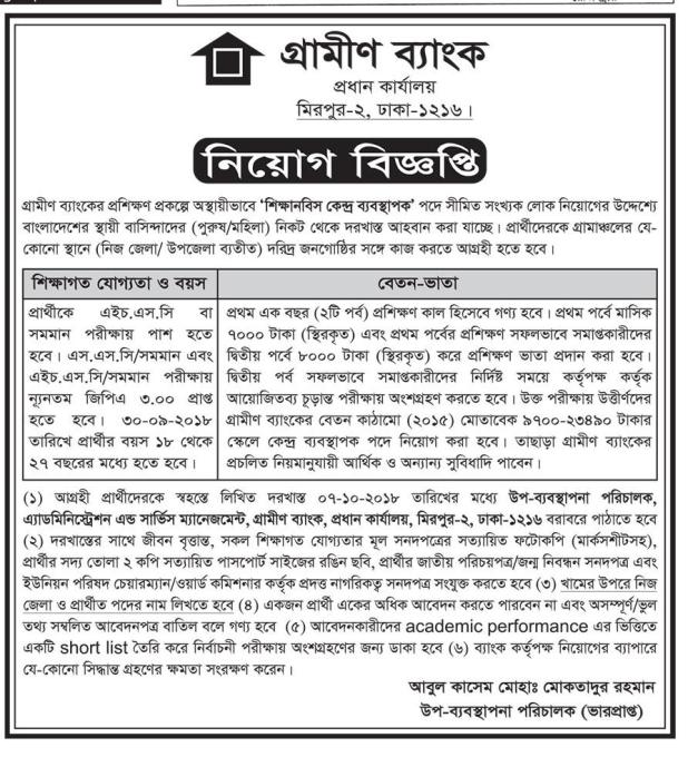 Grameen Bank Job Exam Date