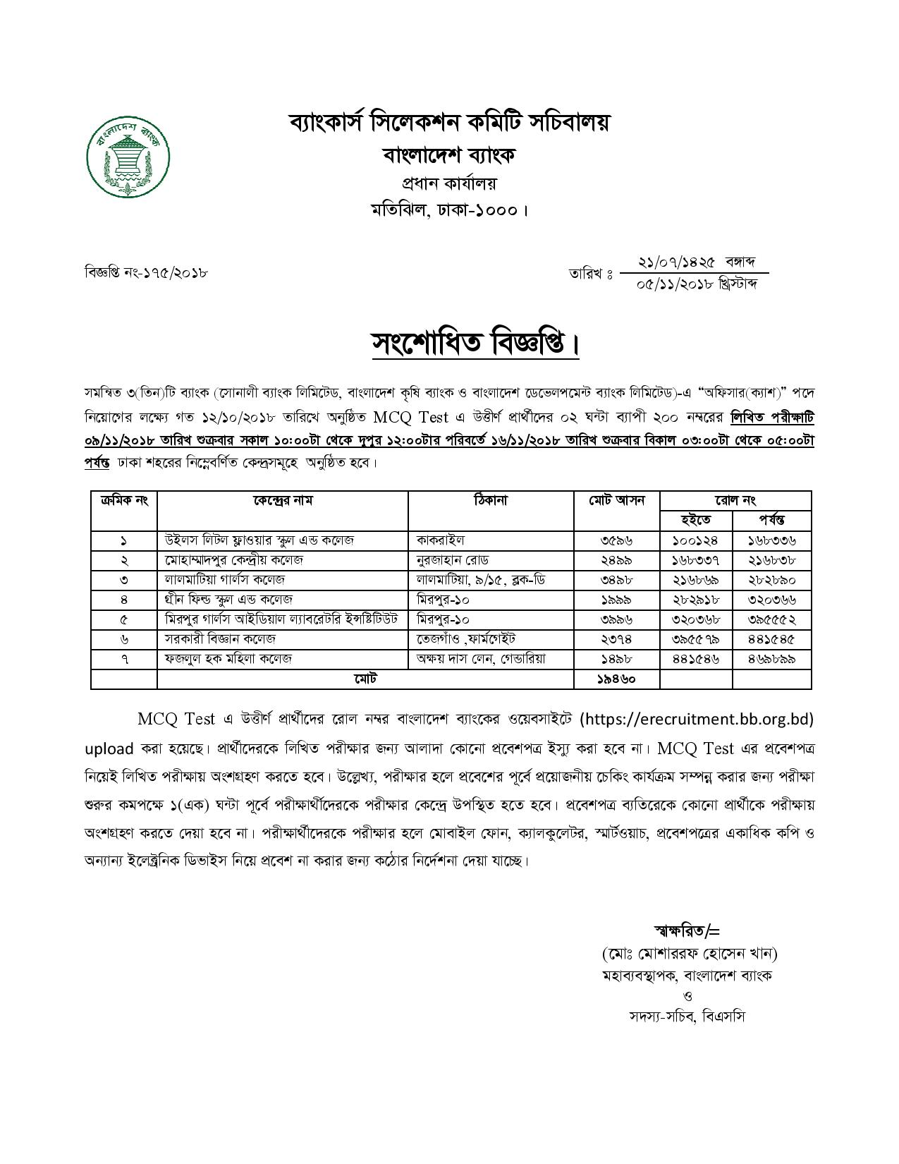 Combined 3 Bank Officer (Cash) Exam Date And Seat Plan Result 2019 2