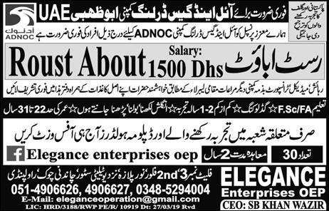 Roustabout jobs in UAE advertisement