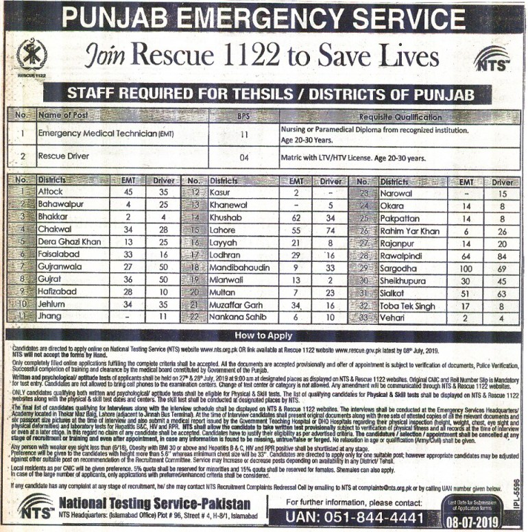 Rescue 1122 EMT and Driver jobs advertisement