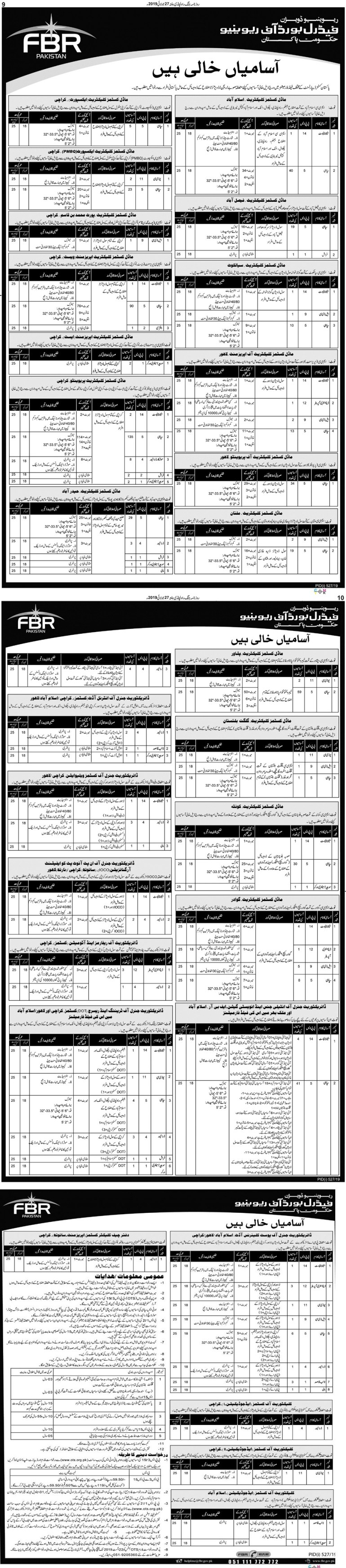 Federal Board of Revenue Jobs Advertisement