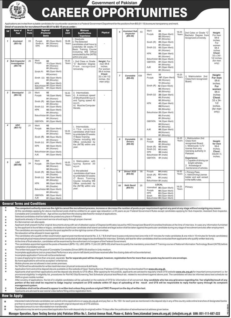 Federal Government Department jobs Advertisement