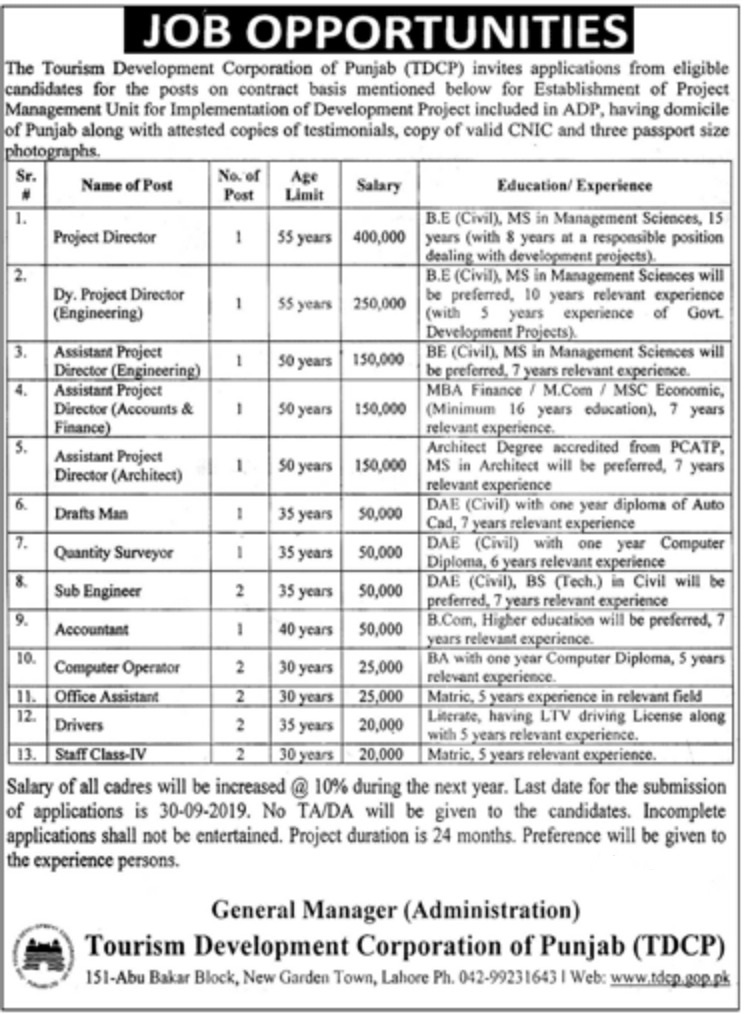 Tourism Development Corporation of Punjab Jobs