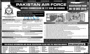Pakistan Air Force Jobs 117 Non GD Commission Course 2016