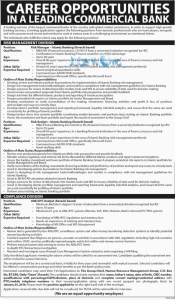 Leading Commercial Bank Jobs January 2016 Latest Advertisement