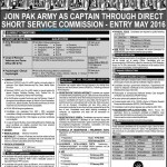 Pak Army Short Service Commission Entry May 2016
