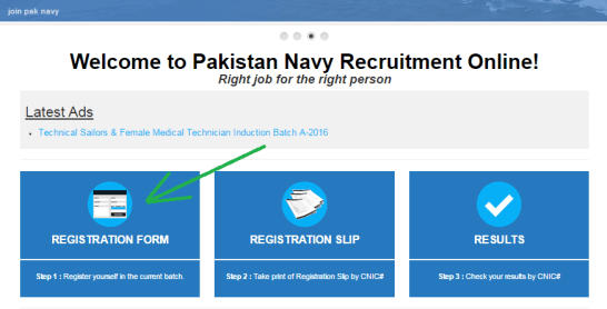 Pak Navy online registration form