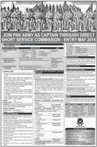 direct short service commission 2016 pak army