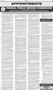 FPSC Jobs February 2016 Apply Online Federal Public Service Commission