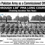 Join Pakistan Army For 138 PMA Course as 2nd Lieutenant