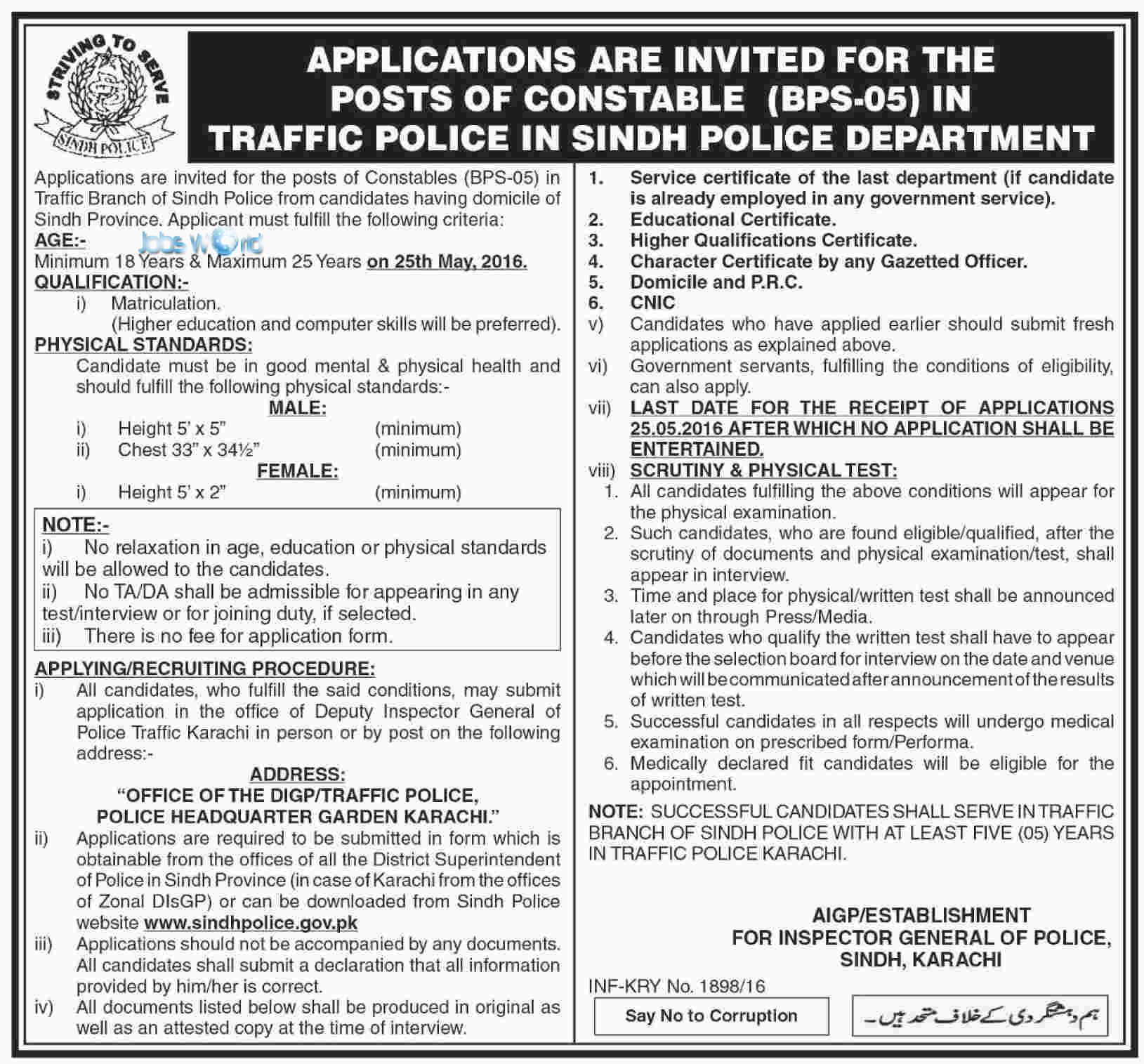 Sindh Traffic Police Jobs 2016 Male Females Eligibility