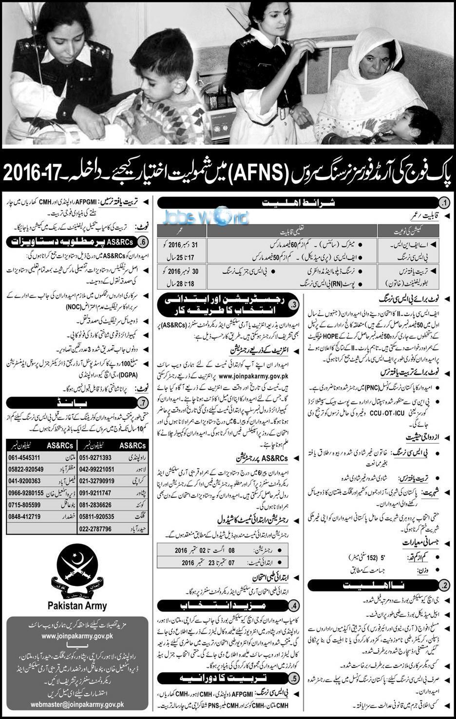 Pakistan Armed Forces Nursing AFNS Jobs 2016 Registration