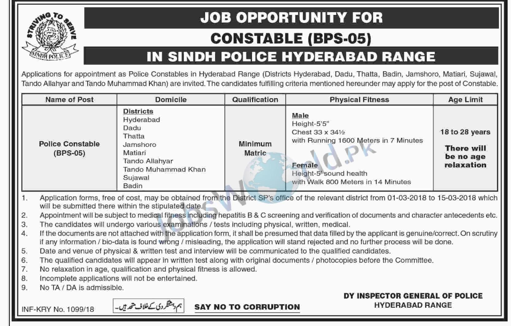 Sindh Police Constable Jobs 2018 Hyderabad Range Recruitment -JobsWorld