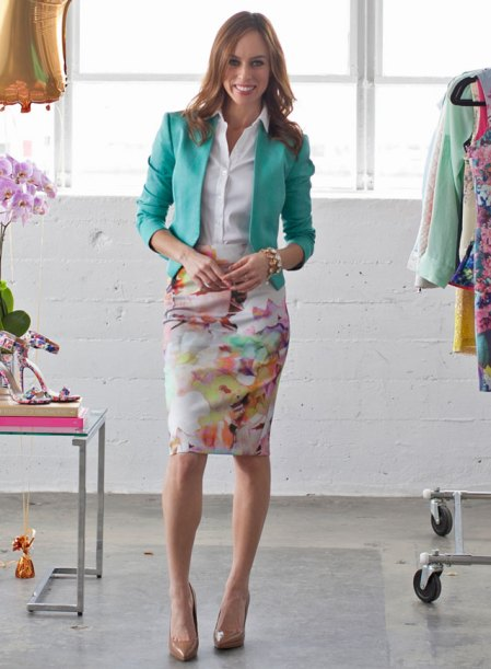 Sydne-Style-how-to-wear-florals-a-z-trend-guide-spring-summer-2014-trends-video-watercolor-skirt-ted-baker-teal-blazer-bebe