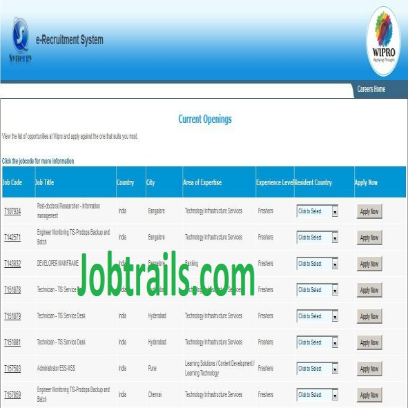 Wipro Online Resume Submission  wipro hiring process recruitment