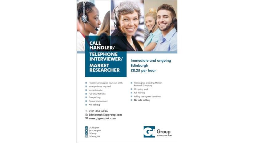 CALL HANDLER/ TELEPHONE INTERVIEWER/ MARKET RESEARCHER