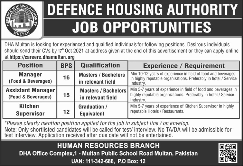 DHA Jobs 2021 Defence Housing Authority