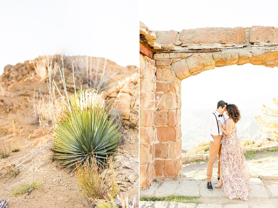 photo of the hillside at Breanna & Peter's Magical Knapp's Castle engagement session. And a second photo of Breanna & Peter holding each other close under the arches.
