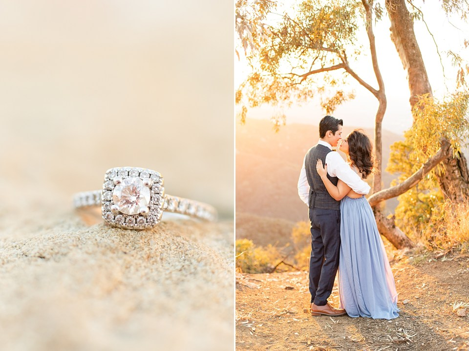 a close up of Breanna's engagement ring on a rock. And the couple standing under a tree glowing from the sun. They are looking away with their backs to the camera and they are leaning in for a kiss.